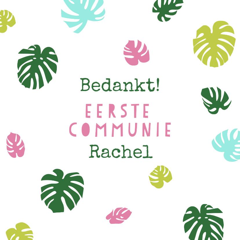 Communiekaarten - Bedankkaartje eerste communie met gekleurde bladeren