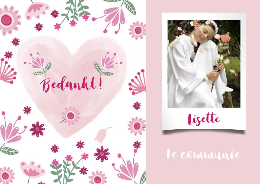 Communiekaarten - Bedankt communie roze bloemen