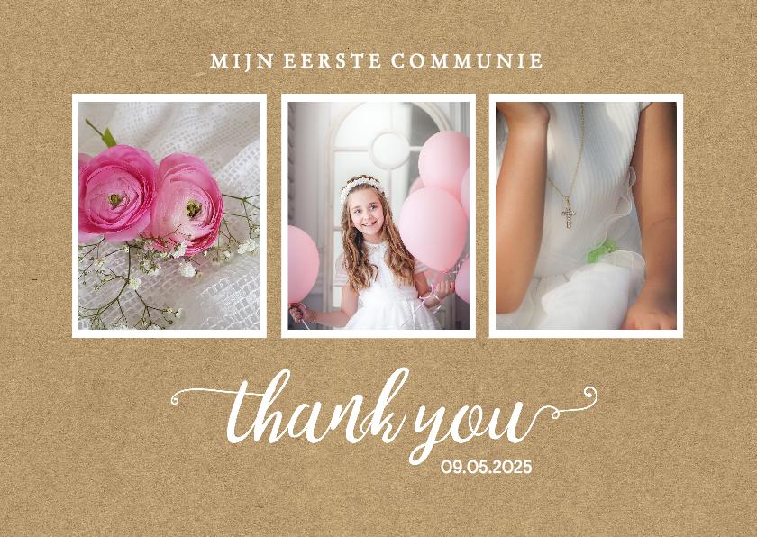 Communiekaarten - Communie - bedankkaart 3 foto's