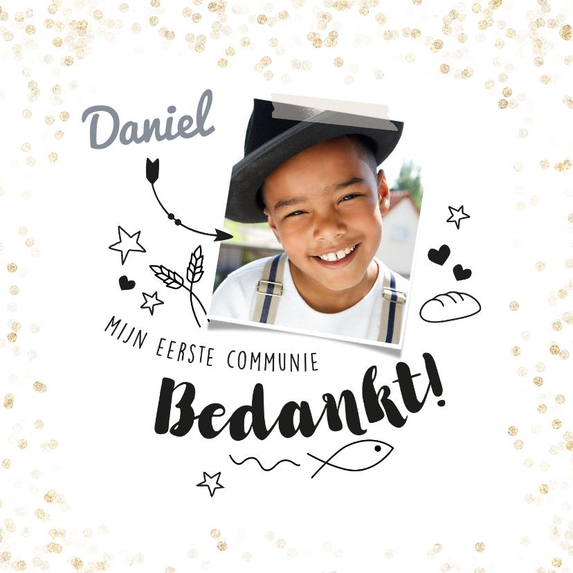 Communiekaarten - Communie bedankkaartje met foto en doodles
