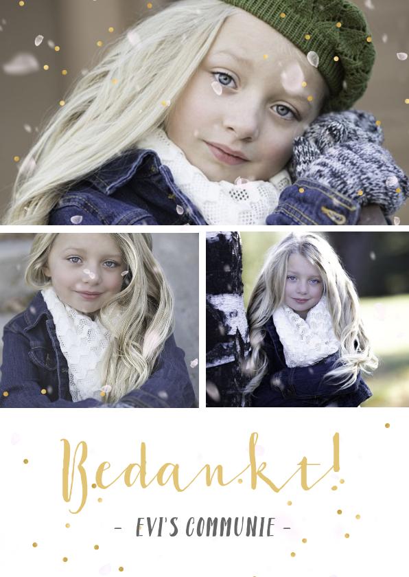 Communiekaarten - communie bedankkaartje met fotocollage met 3 foto's