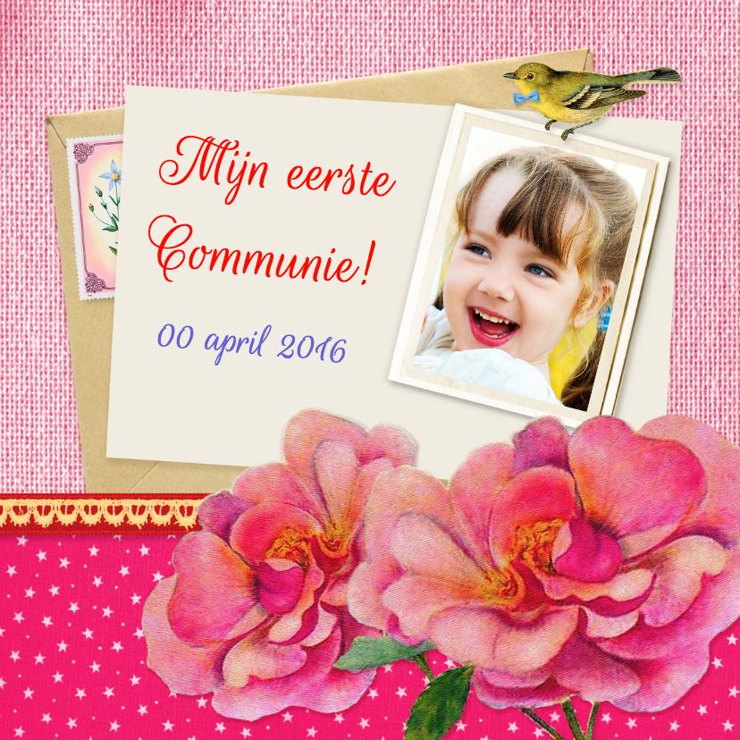 Communiekaarten - Communie bloemen meisje