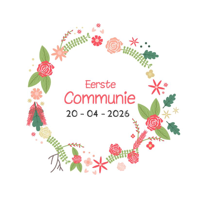 Communiekaarten - Communie Bloemenkrans - DH