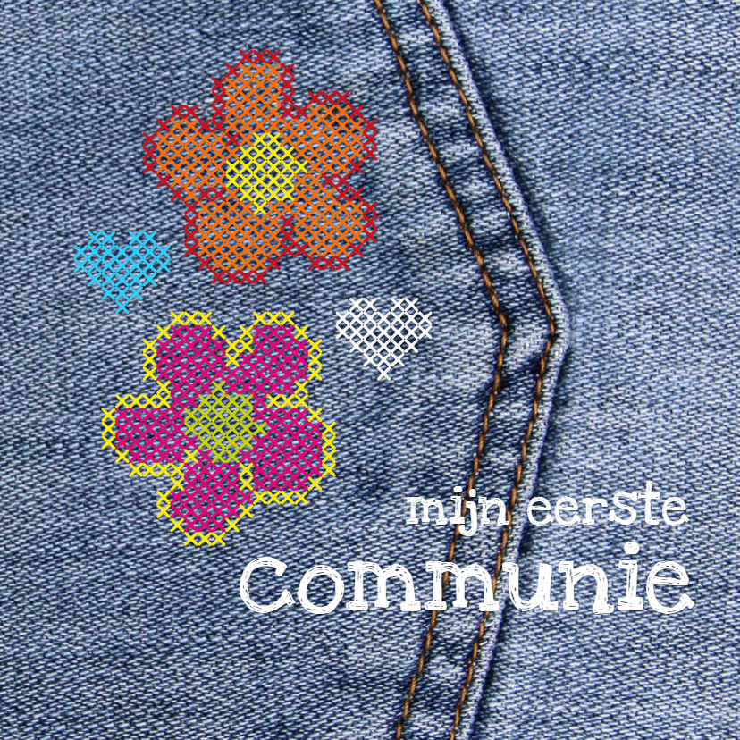 Communiekaarten - communie denim flower power