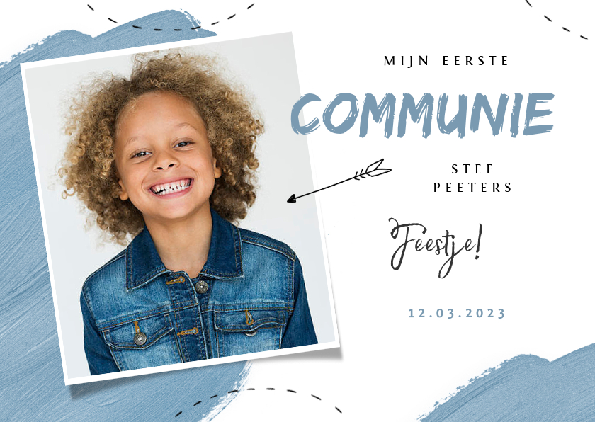 Communiekaarten - Communie feest uitnodiging blauw verf pijltje foto
