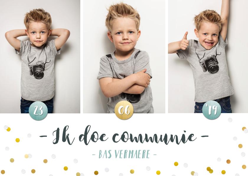 Communiekaarten - Communie fotocollage kaart jongen met goudlook confetti