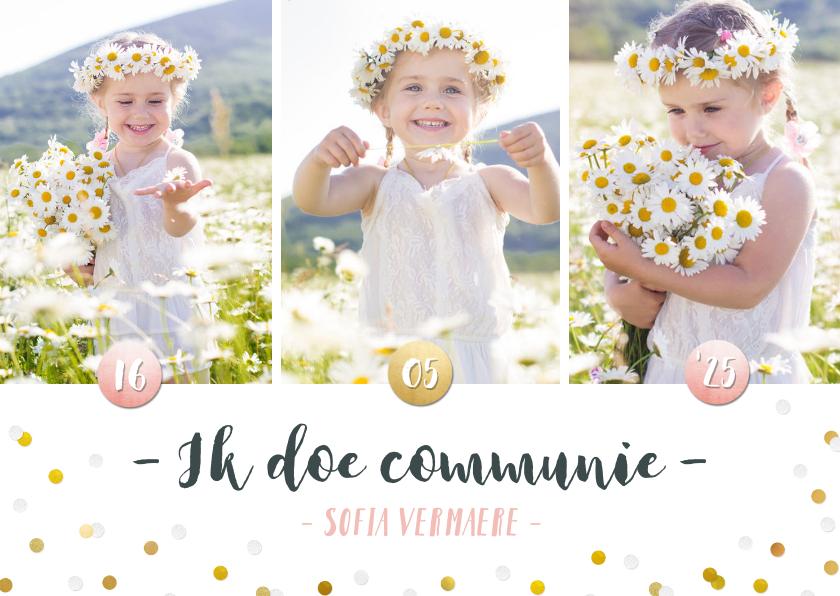 Communiekaarten - Communie fotocollage kaart meisje met goudlook confetti