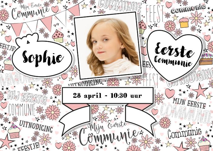 Communiekaarten - Communie hippe uitnodiging met foto in handlettering-stijl