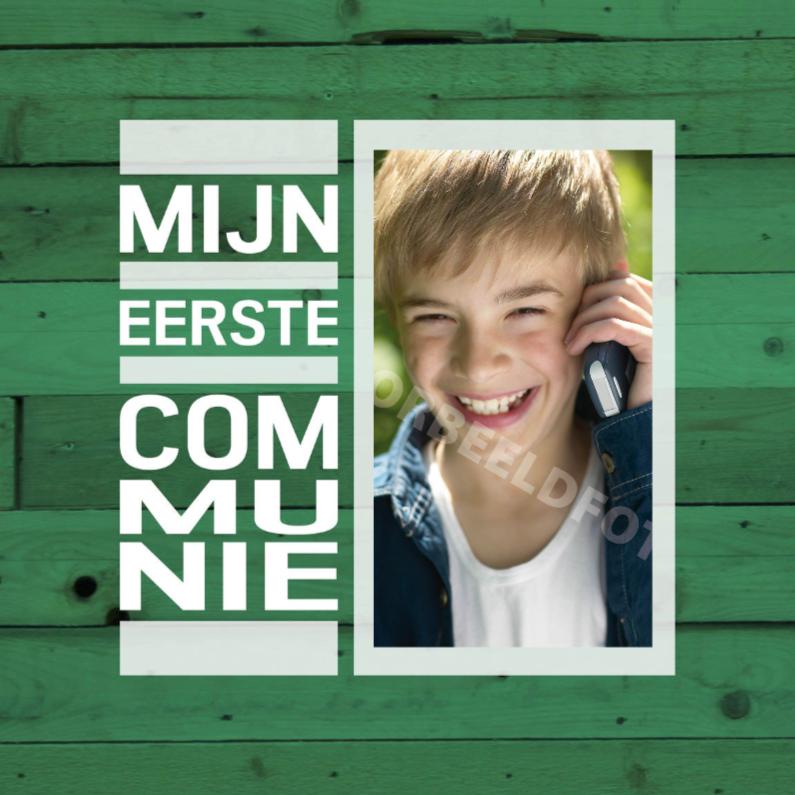 Communiekaarten - communie hout groen