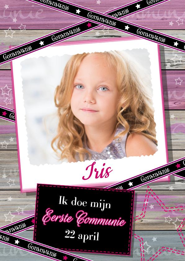 Communiekaarten - Communie hout lintje foto meisje