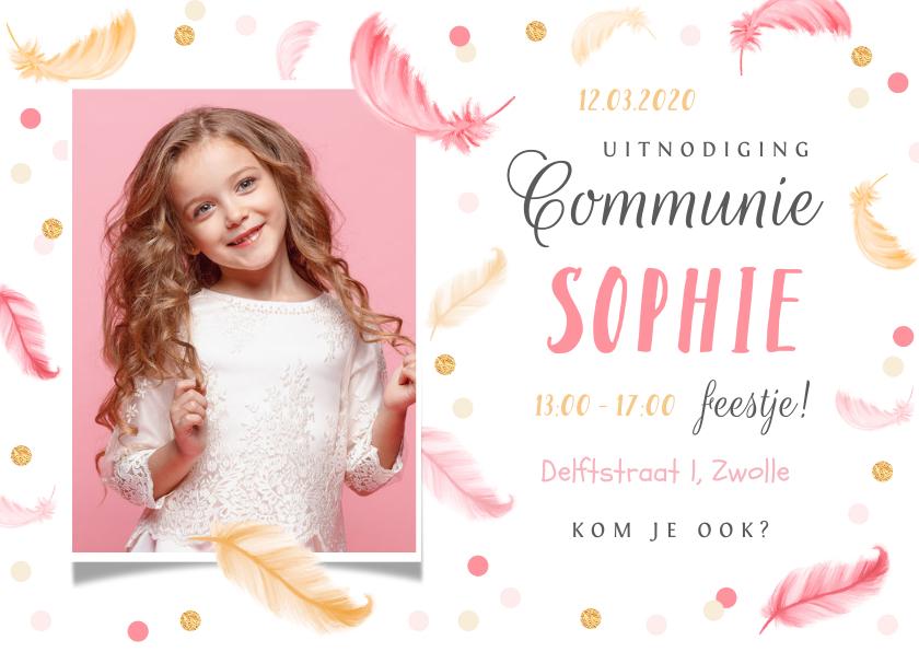 Communiekaarten - Communie lentefeest veertjes roze confetti