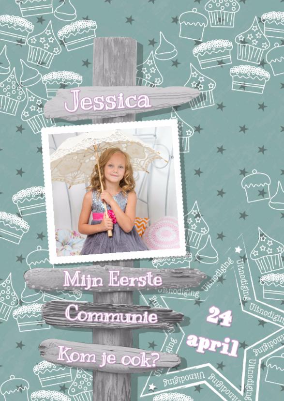 Communiekaarten - Communie  lief cupcake paal foto