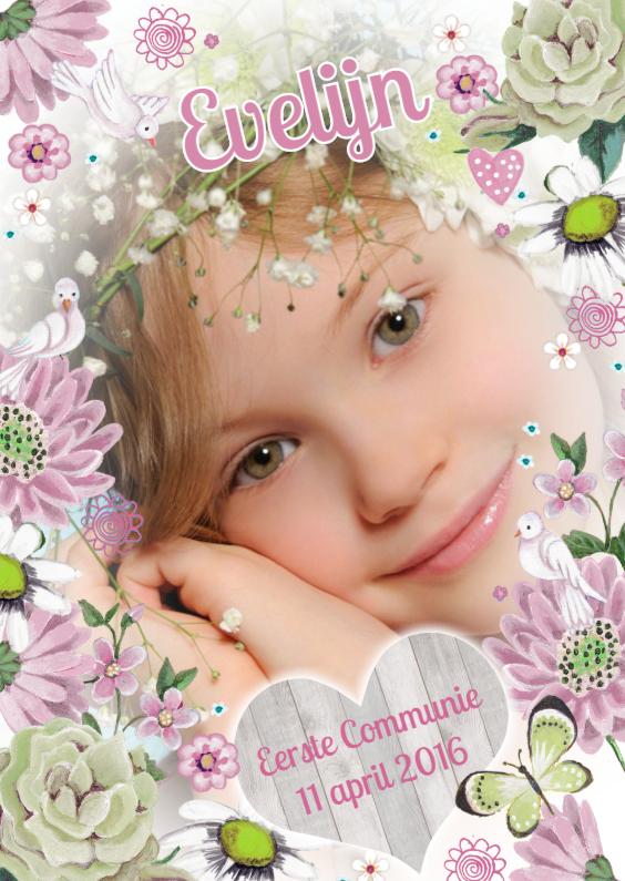Communiekaarten - Communie Meisje Bloemen Duifje R