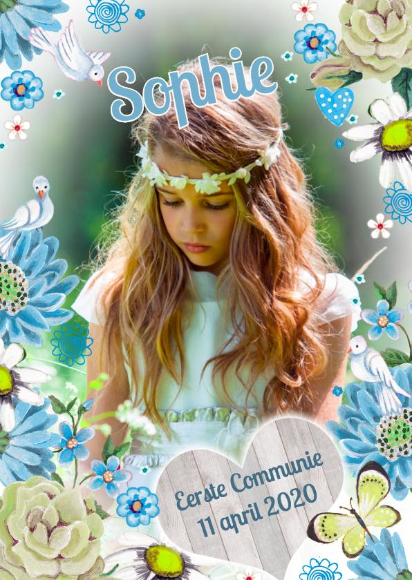 Communiekaarten - Communie Meisje Bloemen Duifjes