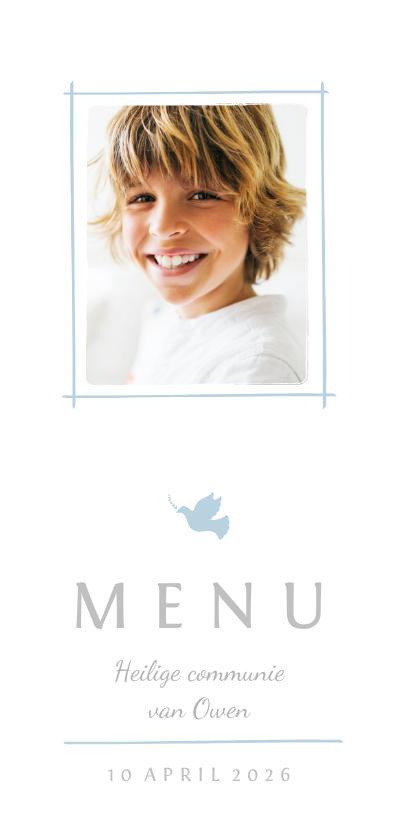 Communiekaarten - Communie menukaart foto en blauw duifje