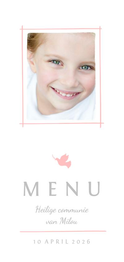 Communiekaarten - Communie menukaart foto en roze duifje