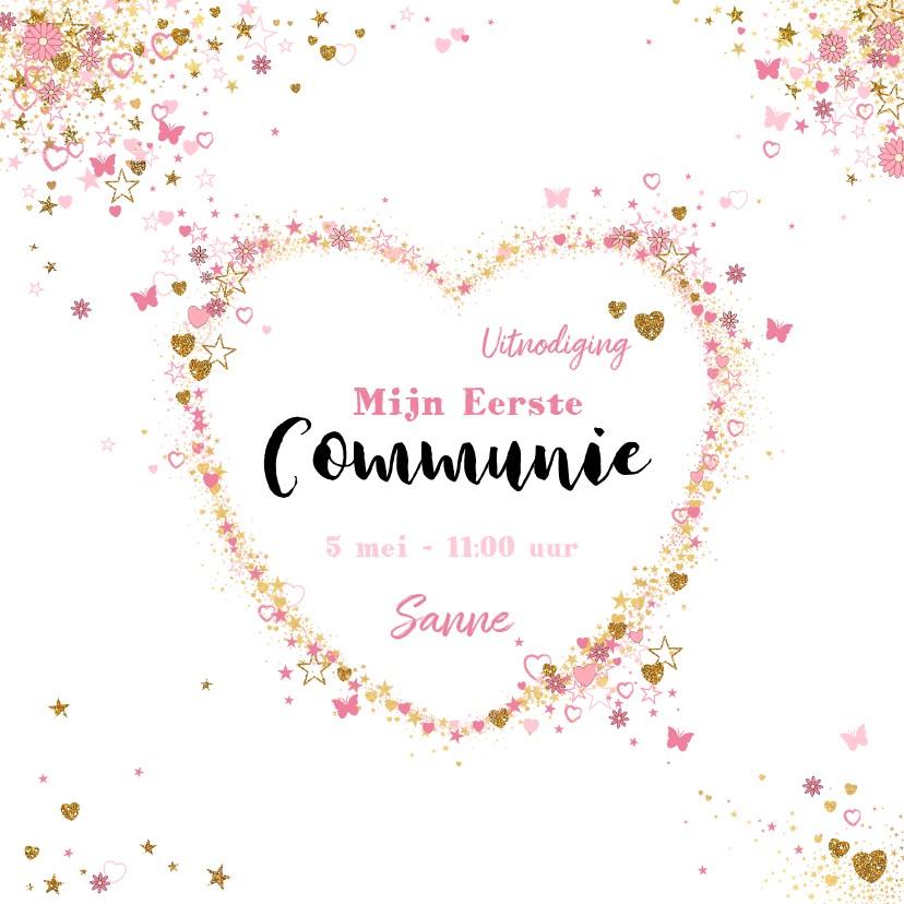 Communiekaarten - Communie of lentefeest hippe uitnodiging hartjes vlinders