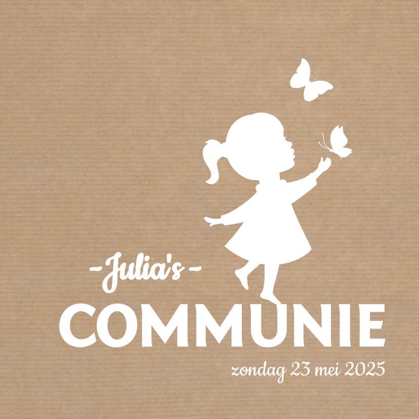 Communiekaarten - Communie Silhouet vlinder kraft