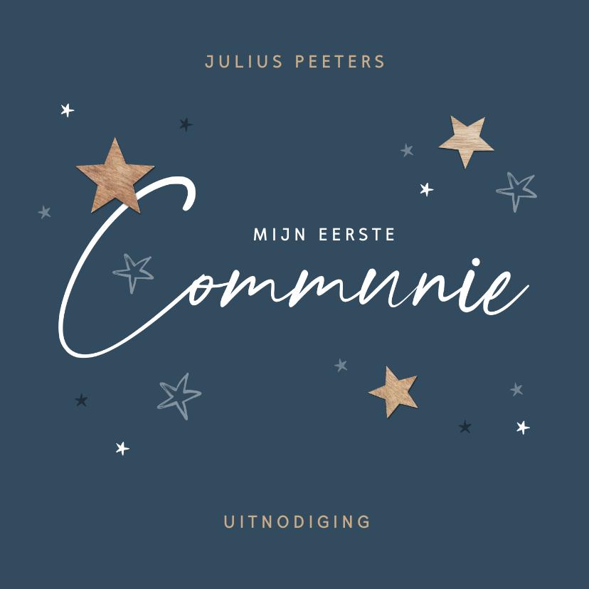 Communiekaarten - Communie sterren hout uitnodiging stijlvol