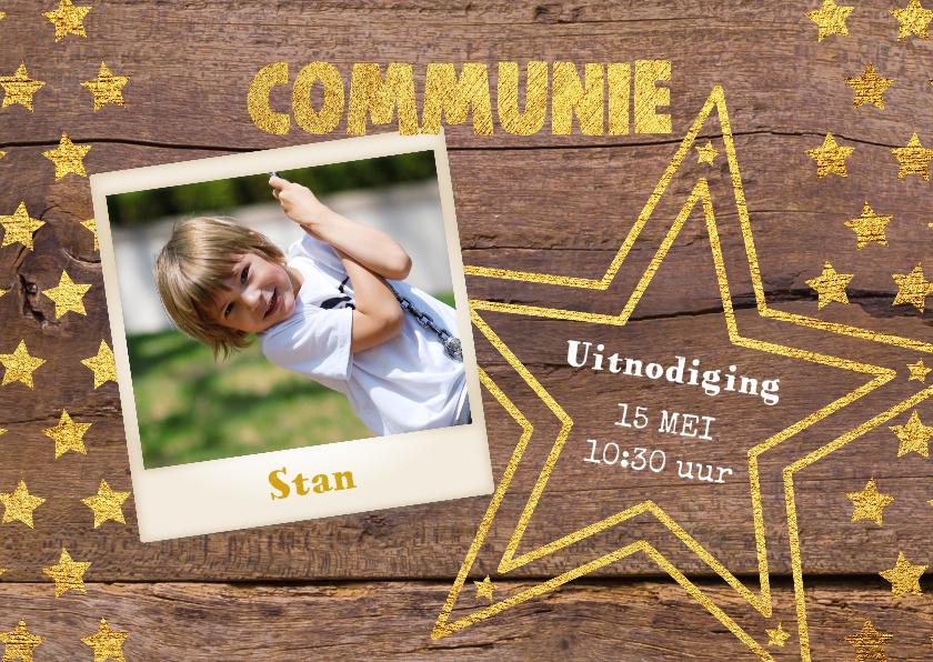 Communiekaarten - Communie stoere foto kaart hout en sterren