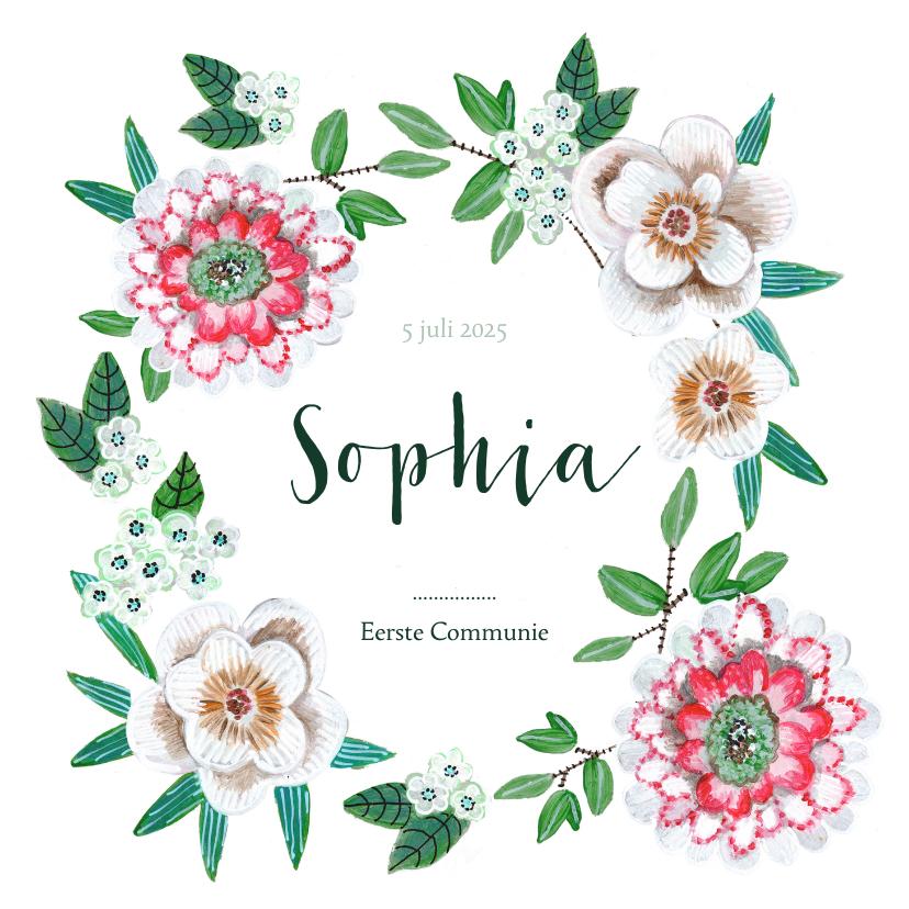 Communiekaarten - Communie uitnodiging botanische bloemen krans