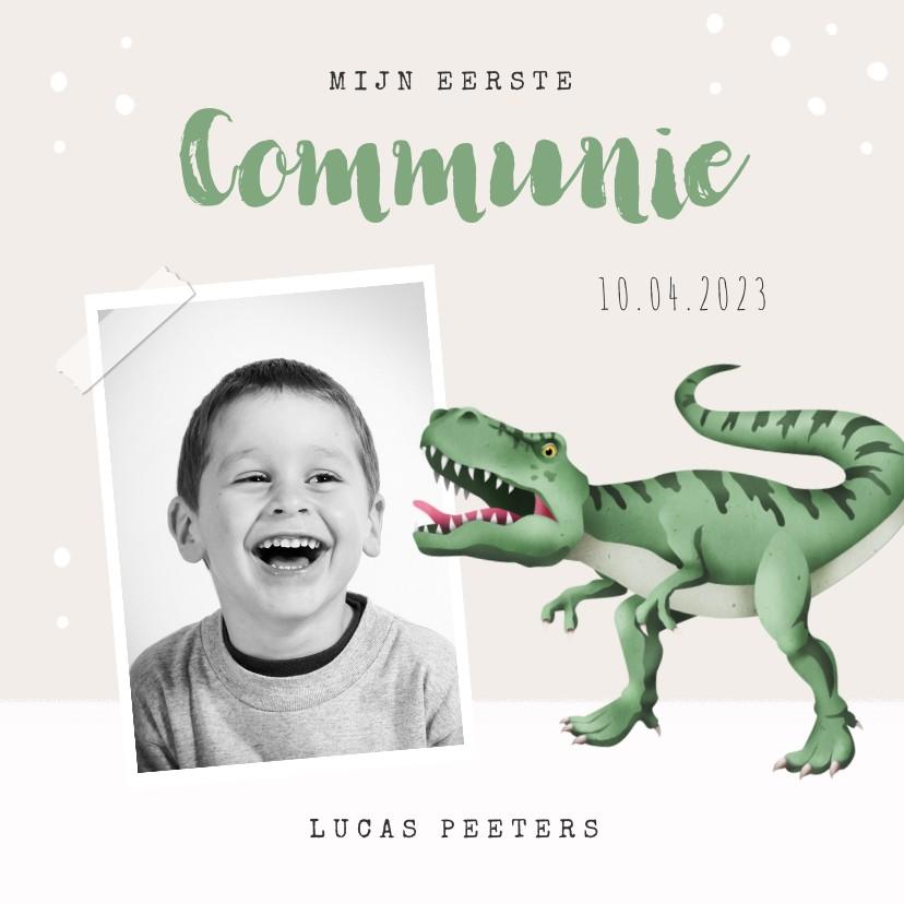 Communiekaarten - Communie uitnodiging dino t-rex foto