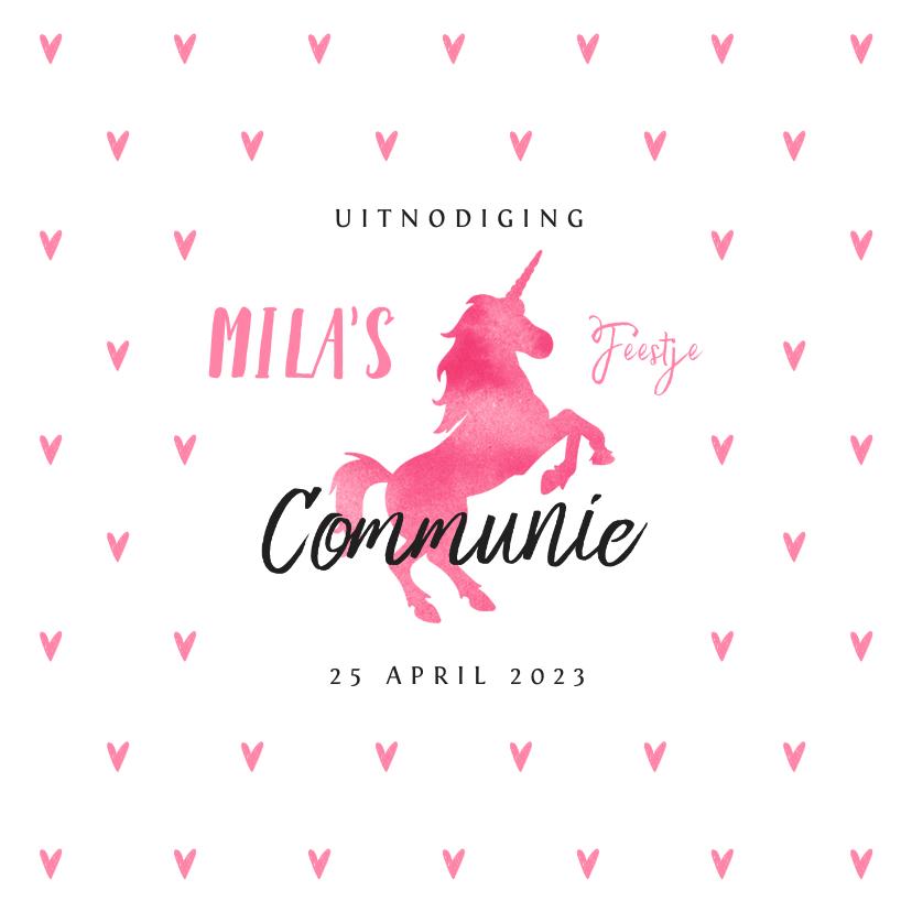 Communiekaarten - Communie uitnodiging eenhoorn meisje stijlvol hartjes