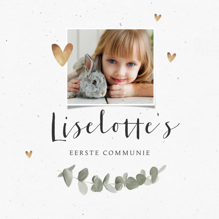 Communiekaarten - Communie uitnodiging eucalyptus gouden hartjes en foto