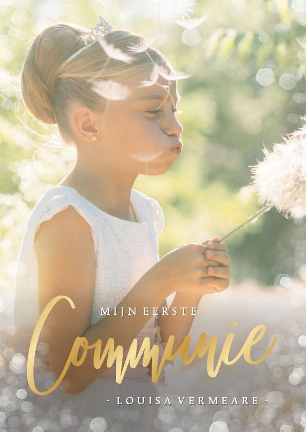 Communiekaarten - Communie uitnodiging fotokaart met gouden letters