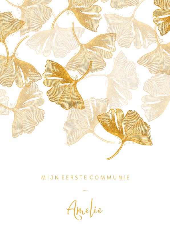 Communiekaarten - Communie uitnodiging ginkgoblad stempel foto binnen