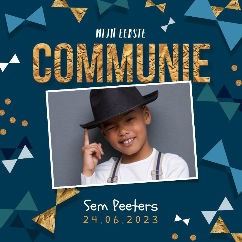 Communiekaarten - Communie uitnodiging jongen confetti strikjes goud