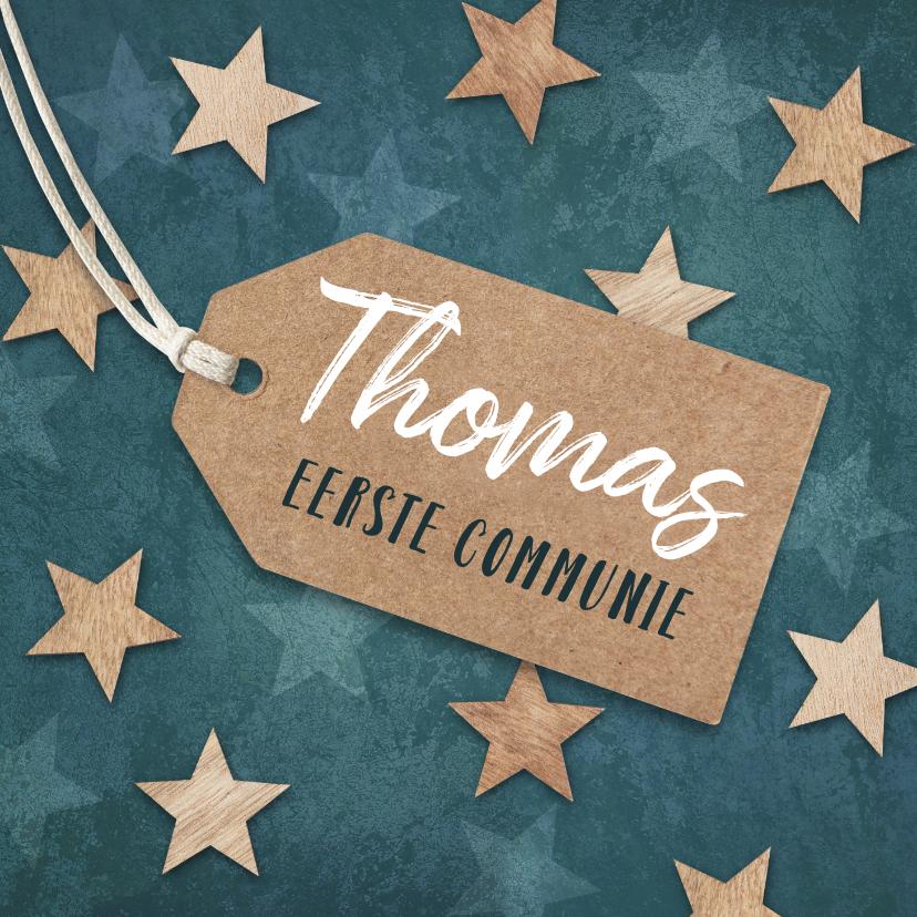 Communiekaarten - Communie uitnodiging jongen stoer houten sterren label