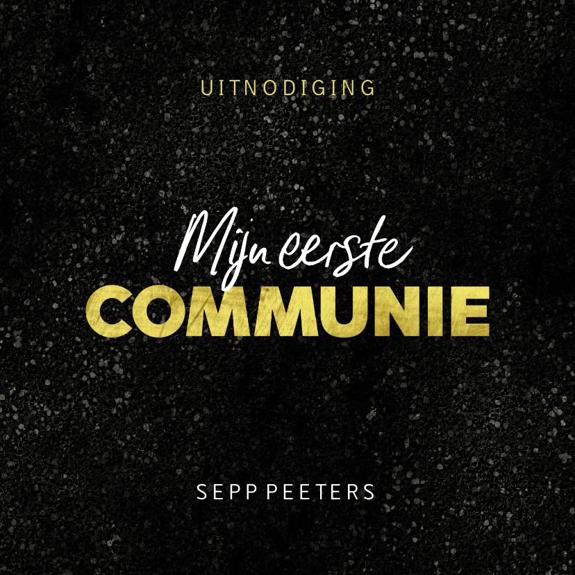 Communiekaarten - Communie uitnodiging jongen stoer spetters goud