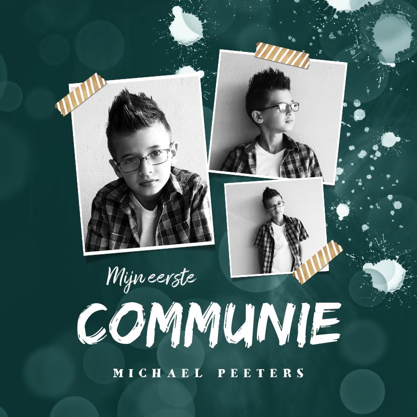 Communiekaarten - Communie uitnodiging jongen verf spetters fotocollage
