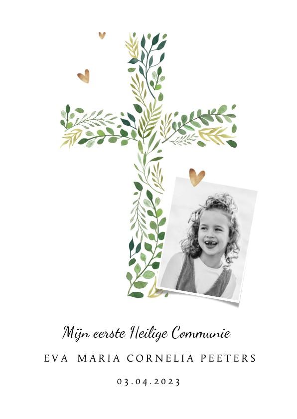 Communiekaarten - Communie uitnodiging klassiek kruis hartjes foto