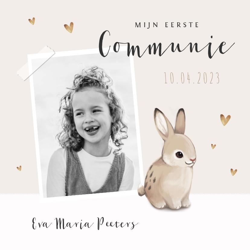 Communiekaarten - Communie uitnodiging konijn hartjes en foto