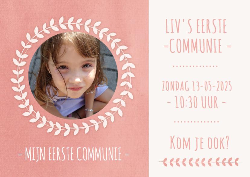 Communiekaarten - Communie uitnodiging krans foto