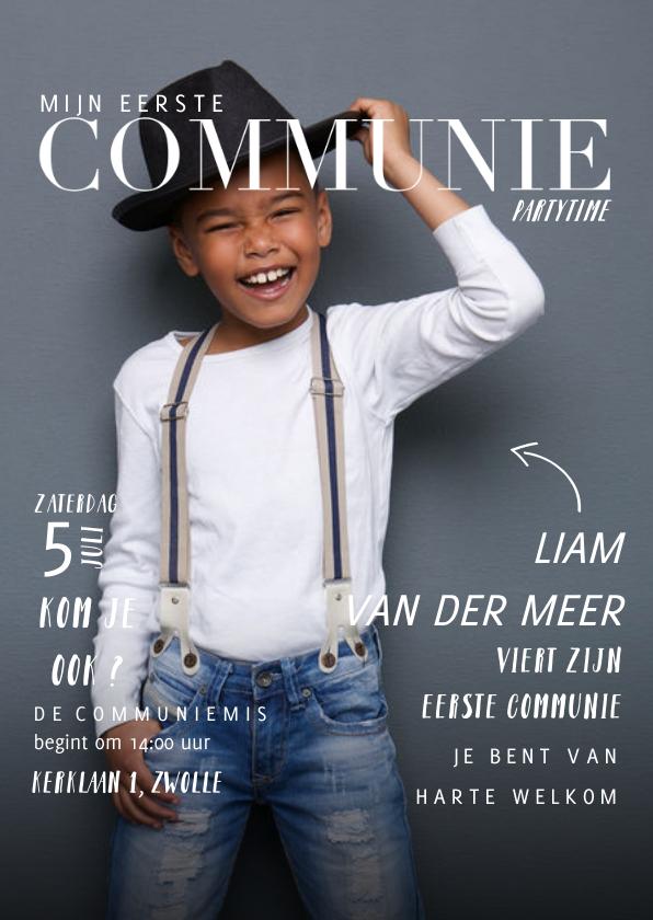 Communiekaarten - Communie uitnodiging magazine met foto en teksten jongen