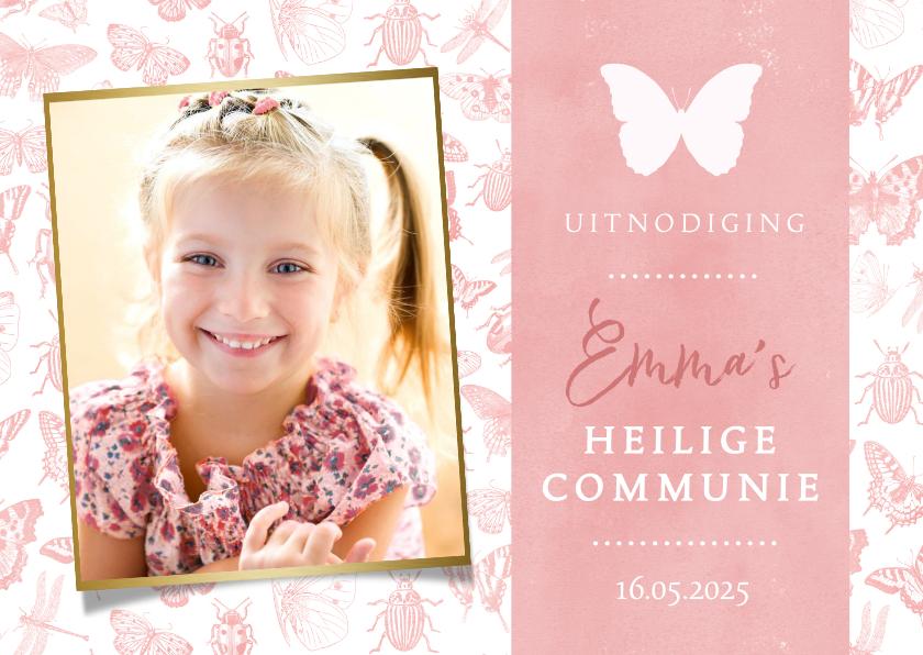 Communiekaarten - Communie uitnodiging roze voor meisjes met lente dieren