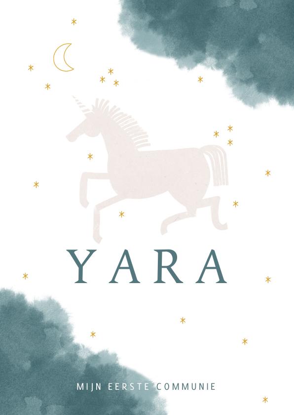 Communiekaarten - Communie uitnodiging stijlvol met unicorn maan en waterverf