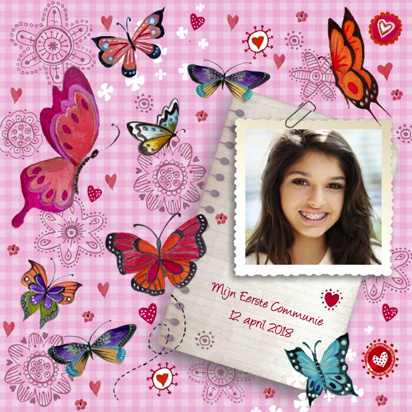 Communiekaarten - Communie Vlinders Bloemen BB meisje roze