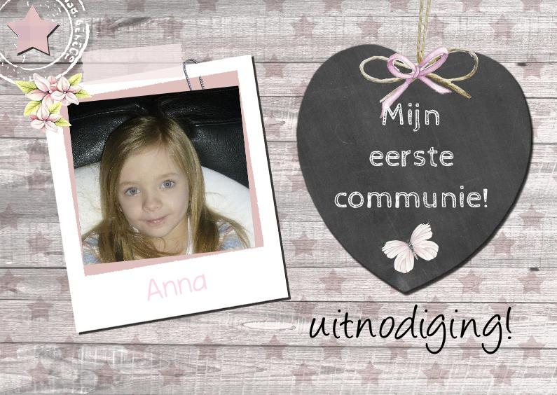 Communiekaarten - communiefeest meisje hart