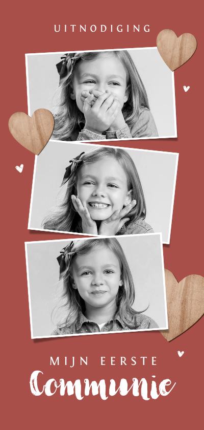 Communiekaarten - Communiefeest uitnodiging fotokaart houten hartjes