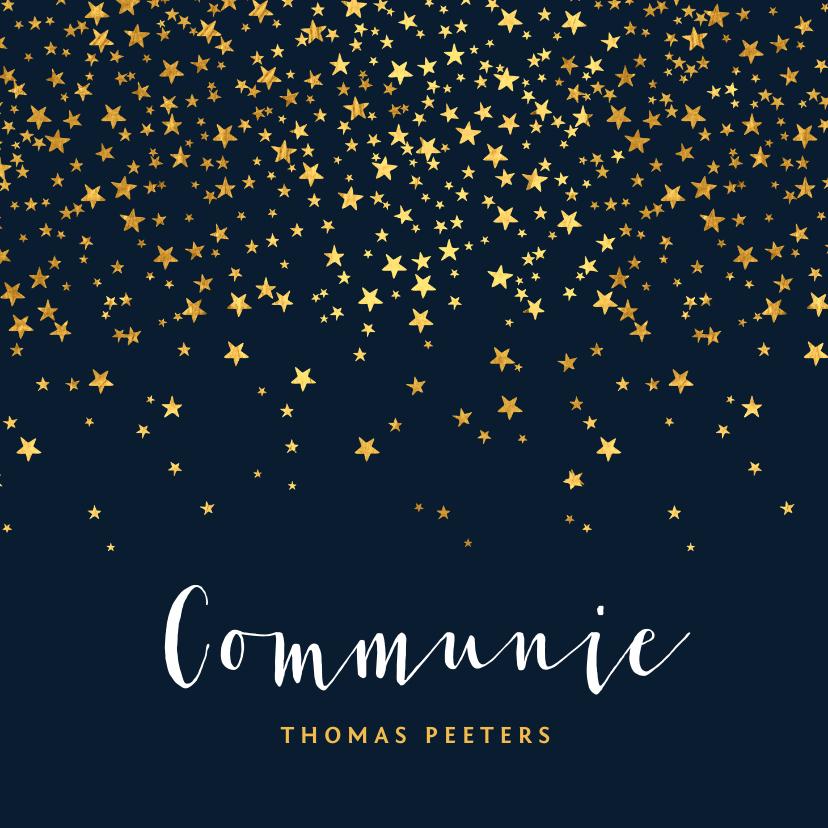 Communiekaarten - Communiefeest uitnodiging jongen stijlvol goud sterren