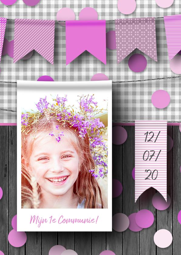 Communiekaarten - Communiefeestje meisje foto en confetti