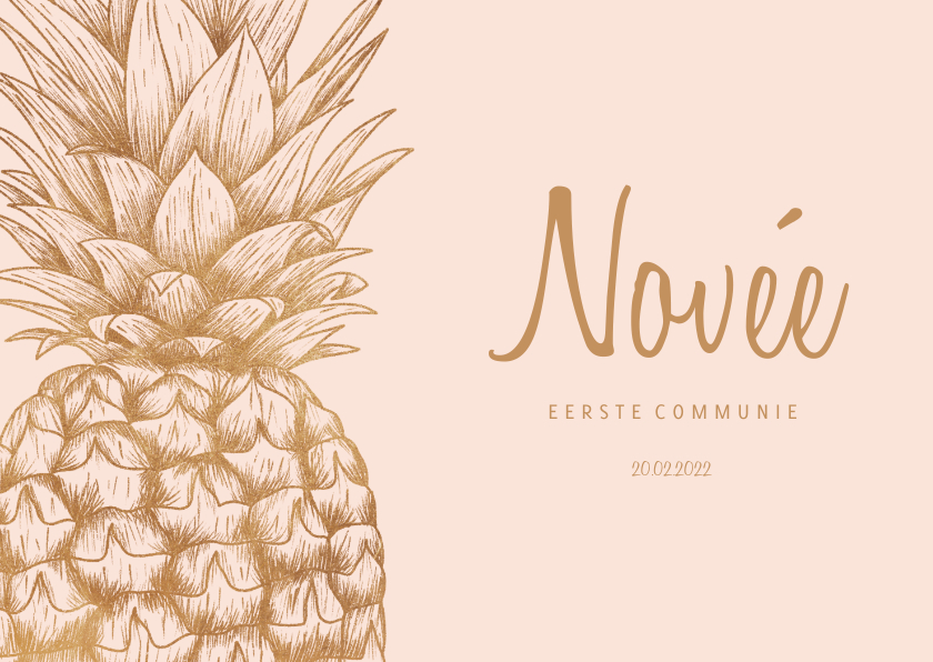 Communiekaarten - Communiekaart ananas koper aanpasbare kleur