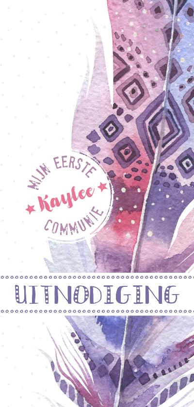 Communiekaarten - Communiekaart Boho veer paars-roze