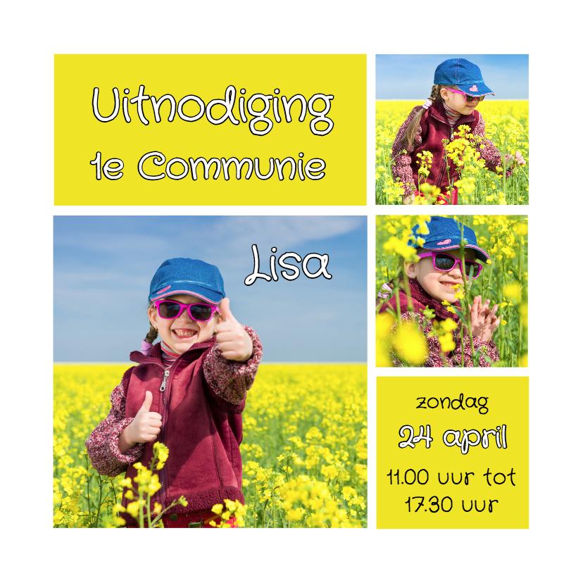 Communiekaarten - Communiekaart collage geel