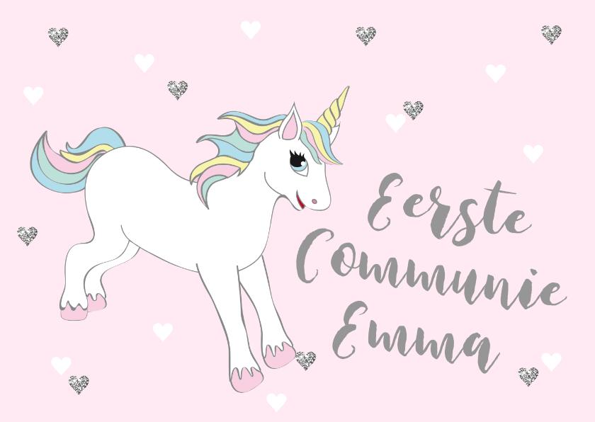 Communiekaarten - Communiekaart eenhoorn hartjes roze