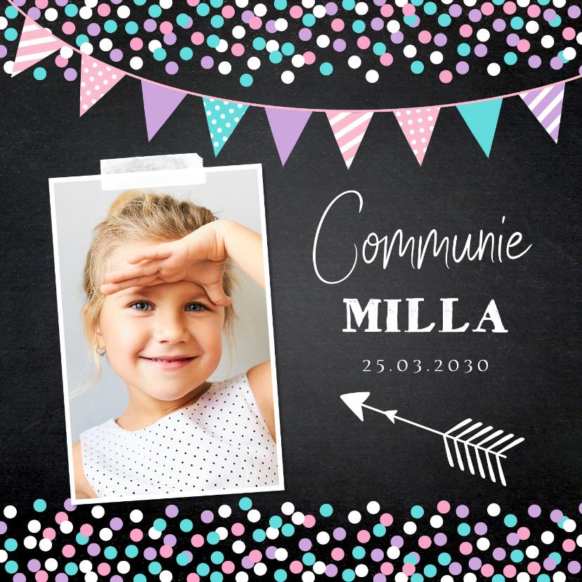 Communiekaarten - Communiekaart foto meisje confetti slinger